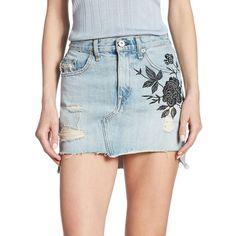 rag & bone/JEAN Dive High-Waist Embroidered Denim Skirt ($295) ❤ liked on Polyvore featuring skirts, hi low skirt, blue high waisted skirt, blue high low skirt, high waisted long skirts and long denim skirt