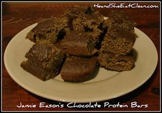 Jamie Eason's Chocolate Protein Bars   1 cup oat flour  4 egg whites  2 scoops of Vanilla Whey Protein Powder (Choose a clean protein powder! We use MRM 100% All Natural Whey.)  1/3 cup (or less) Stevia in the Raw  1/2 tsp baking soda  1/4 tsp salt  8 oz berry flavored baby food  3 tbsp baking cocoa  4 oz water