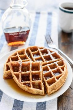 How to make healthy whole wheat waffles in your blender. So easy, delicious, and there's almost no clean up!