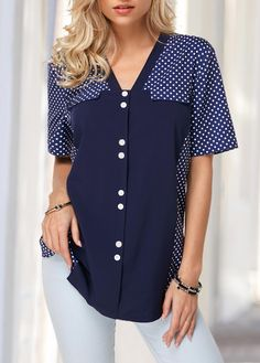 Button Front V Neck Dot Print Blouse