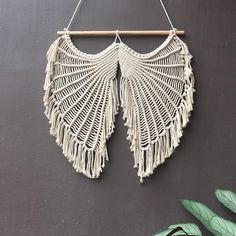 Us 2901 42 Off Angel Wing Design 100 Hand Made Tapestry Macrame Wall Hanging Art Decoration Boho Chic Bohemian Home Deco 25 Large Macrame Wall Hanging, Macrame Plant Hangers, Hanging Art, Macrame Art, Macrame Projects, Angel Wings Wall Decor, Dorm Tapestry, Handmade Cushion Covers, Wings Design