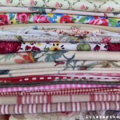 Piles of beautiful vintage and upcycled fabric. Florals, stripes and spots are our favourites