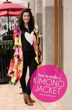 Want a trendy layering piece that will easily elevate your look this fall? Try a kimono jacket. No longer just for the bohemian fashionista, this DIY fashion project will upgrade your fall outerwear collection in just under an hour! Diy Clothing, Sewing Clothes, Clothing Patterns, Diy Fashion Projects, Diy Sewing Projects, Kimono Tutorial, Diy Vetement, Do It Yourself Fashion, Kimono Jacket
