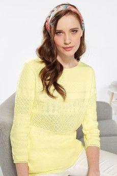 Pull coton jaune pâle effet dentelle fabriqué en France. Collection Printemps-Ete 2015.