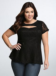 Lace Cut-Out Peplum Top, DEEP BLACK