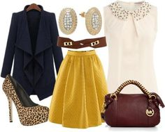 Peter pan crystal collar top/ pleated skirt/leopard heels. Cute outfit