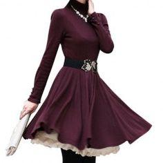 Long Sleeves Turtle Neck Beam Waist Ruffles Slimming  Dress