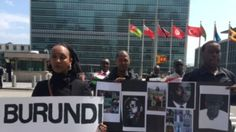 Members of the Burundian diaspora and exiled civil society leaders gathered at the United Nations, demanding action to stop violence in Burundi, April 26, 2016. (M. Besheer/VOA)