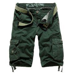Pantalones cortos de moda para hombre bolsillo grande de algodón ocasional de carga