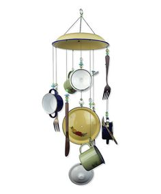Sunday Brunch Wind Chime by Sunset Vista Design Co., Inc- idk why, but i love this- maybe a diy Mobiles, Sun Catchers, Diy Wind Chimes, Homemade Wind Chimes, Garden Crafts, Yard Art, Diy And Crafts, Upcycled Crafts, Summer Crafts