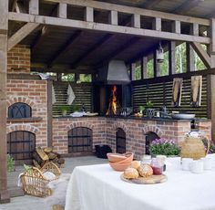 40 Outdoor Kitchen Pergola Ideas for Covered Backyard Designs Backyard Kitchen, Summer Kitchen, Outdoor Kitchen Design, Outdoor Oven, Outdoor Cooking, Outdoor Rooms, Outdoor Living, Outdoor Decor, Party Outdoor