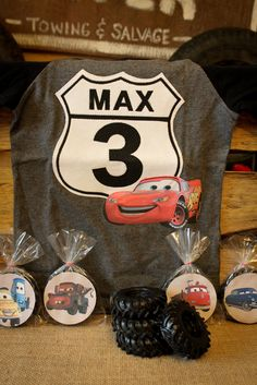 Cars shirt by *golden*  Soap tires by Favors by Angelique  Printables by The Blue Egg Events and Design