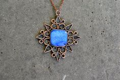 Copper pendant Blue mother of pearl by TanyaKolyada on Etsy