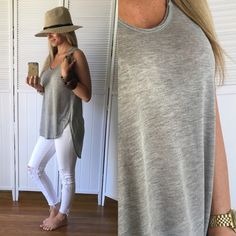 Loose Heather Grey Tank ▪️Item Description: Very soft and lightweight, semi-sheer, great for cute bralettes or bandeaus!   ▪️Modeling: Small  ▪️Material: 90% Rayon 10% Poly Tops Tank Tops