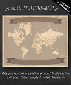 """World Travel Map - Printable World Travel Map Instant Download - 11""""x14"""" Wall Art - Add your own text"""