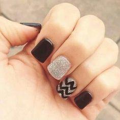 Chevron Nails -                                                              Black nails    See more at www.nailsss.com/...