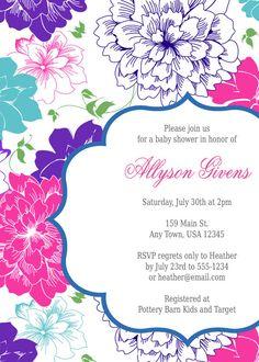 Invitación de ducha Baby floral Floral bebé por inglishdigidesign