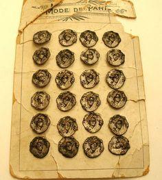 original card of antique French Art Nouveau buttons