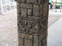 concrete column Fake Stone Wall, Fake Brick Wall, Faux Stone, Concrete Sculpture, Concrete Art, Concrete Projects, Cement Design, Stone Wall Design, Building Columns