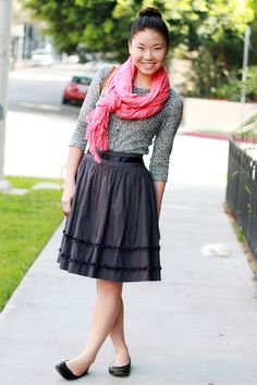 I have that cardigan, and love it paired with the pink scarf. I would probably wear it with jeans.