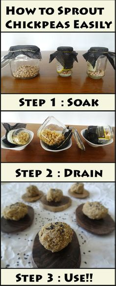 How to Sprout Chickpeas Easily - Step by Step Tutorial as well as links to Raw Vegan Recipes that use sprouted foods.