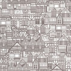 Tudor Houses Black / White Wallpaper. Maybe a spare room, or craft room.
