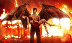 From Angelfall Raffe carrying Penryn. This is freaking epic as hell! The Thoughtful Novelist: Fanart