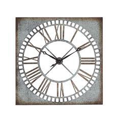 Add a timeless design to your home or office with this elegant wall clock, featuring a rustic design with its pierced steel finish in iron with rust undertones. The open design offers black Roman numerals on a white background.