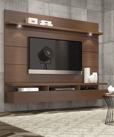 Manhattan Comfort Cabrini Theater Entertainment Center Panel in Nut Brown-Hosting the Super Bowl? Enjoying a quiet intimate evening at home? Your TV has never looked better mounted on the Cabrini Theater Panel. Simply attach it to the panel using Tv Wall Design, House Design, Screen Design, Lcd Unit Design, Design Shop, Tv Wall Panel, Wall Tv, Ruang Tv, Tv Wanddekor