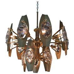 Brutalist Sonneman Brass and Cut Glass Chandelier | See more antique and modern Chandeliers and Pendants at https://www.1stdibs.com/furniture/lighting/chandeliers-pendant-lights