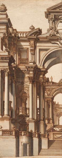 "Andrea Pozzo | Left half of a ""Theatrum Sacrum"" | 1685 | The Morgan Library & Museum"