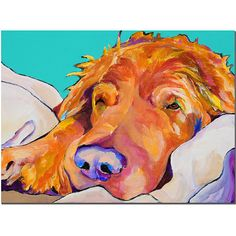 This ready to hang, gallery-wrapped art piece features a sleeping dog. Instantly recognizable, the brilliant, saturated colors of Pat Saunders-White;s animal paintings have established her as a nation