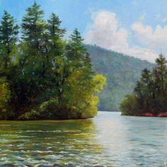 Celebrating Ten Years -   Adirondack, Lake George, Summer Large oil Painting -- Takeyce Walter