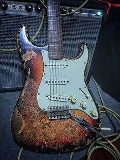 My Bravewood heavy relic/burnt strat with Fatboy Guitars pickups ! Killer through my Fender Deluxe Reverb.