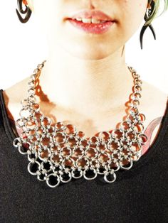 Chainmaille Organic Japanese lace medium necklace by skycubacub, $178.00