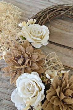 Rustic Burlap Grape Branch Wreath - Would   look great with the little rolled cardboard owls on it!