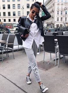 Gray pants white shirt