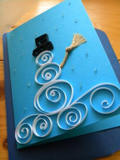 Creative modern DIY Christmas cards ideas for making inexpensive Christmas cards at home with ribbons,buttons,paper quilling and paper flower Quilling Christmas, Christmas Card Crafts, Handmade Christmas Gifts, Homemade Christmas, Holiday Crafts, Christmas Postcards, Diy Christmas Invitations, Wedding Invitations, Simple Christmas