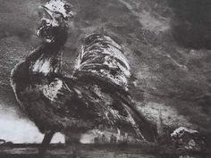 """Ce détail d'un dessin de Victor Hugo représente un coq poussant son cri entre la campagne et la ville qu'il domine de toute sa hauteur - Lié au poème """"Le poëte bat aux champs"""", du recueil """"Les Chansons des rues et des bois (I. Floréal)"""" de ce même Victor Hugo."""