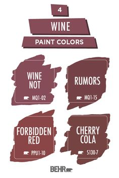 This holiday season, add a festive twist to the interior design of your home. This wine paint color palette is full of r Rustic Color Palettes, Paint Color Palettes, Rustic Colors, Door Paint Colors, Paint Colors For Home, Wall Colors, Burgundy Paint, Behr Colors, Wine Painting