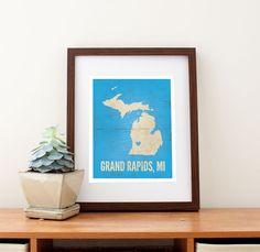 "Grand Rapids, Michigan Love Print, 11"" x 14"". $32.99, via Etsy."