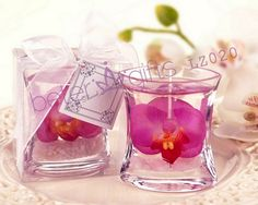 http://shop140810574.taobao.com  Beter Gifts® #しんろうしんぷ #パーティの贈り物  #法式婚礼布置 #花嫁 #新郎新婦 #結婚式の好意   Bride Orchid Gel Candle, Bachelorette Party Favors LZ020