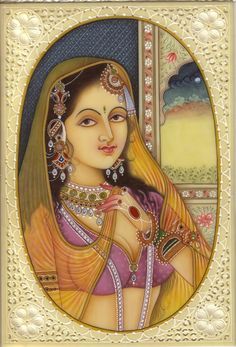 Indian Miniature Painting Kashmir Lady Handmade Faux Ivory Portrait Ethnic Art | Mughal Paintings | Persian Miniatures | Rajasthani Art