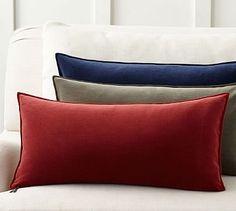 Sailor Blue Lumber Washed Velvet Zip Pillow Cover #potterybarn