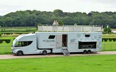 Futuria's sports+spa caravan contains a bathroom, a bedroom, an 11-foot roof terrace with Jacuzzi and a small garage.
