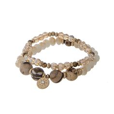 Wholesale two piece stretch bracelet set brown ivory champagne colored beads