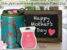 "April's warmer of the month, ""Cherry Tree"", & scent of the month, ""Sugared Blossoms"", are a perfect combination for Mother's Day gifts! Each are 10% off in April. Order now, Https://jdd.scentsy.us/"