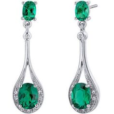 Simulated Emerald, Rich Forest Green Hue with Brilliant Sparkle Earrings are in Sterling Silver and finished with Rhodium Top Quality Craftsmanship Exceptional Styling 30 Day Return Policy Emerald Earrings, Women's Earrings, Silver Necklaces, Sterling Silver Earrings, Silver Labs, Latest Jewellery, Jewellery Designs, Teardrop Earrings, Jewelry Collection