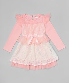 Look what I found on #zulily! Paulinie Pink Lace Layered Angel-Sleeve Dress - Toddler & Girls by Paulinie #zulilyfinds