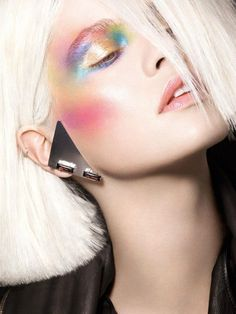 maybelline: Icy blonde hair pops with technicolor eyeshadow. maybelline: Icy blonde hair pops with technicolor eyeshadow. Makeup Fx, Runway Makeup, Makeup Inspo, Makeup Inspiration, Beauty Makeup, Hair Makeup, Makeup Ideas, Makeup Contouring, Beauty Kit